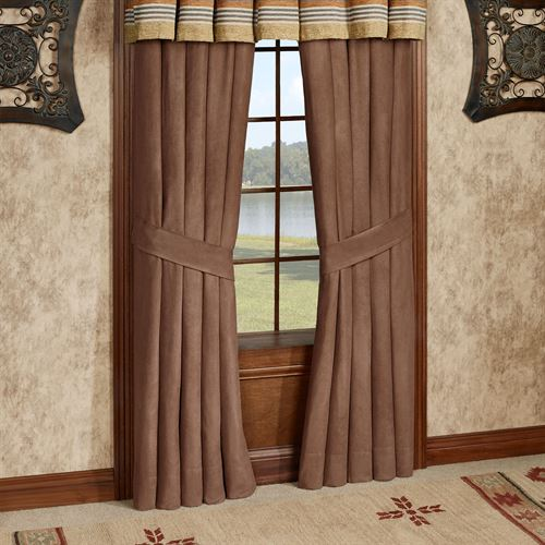 Montaneros Tailored Curtain Pair Brown 98 x 84