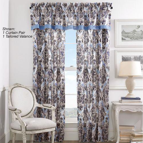 Santorini Indigo Tailored Curtain Pair 82 x 84