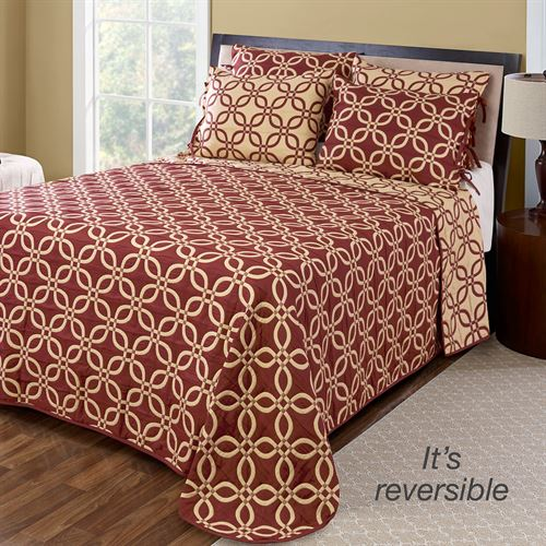 Memphis Reversible Bedspread Wine