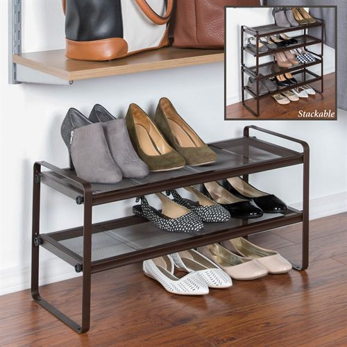 Two Tier Shoe Rack Bronze