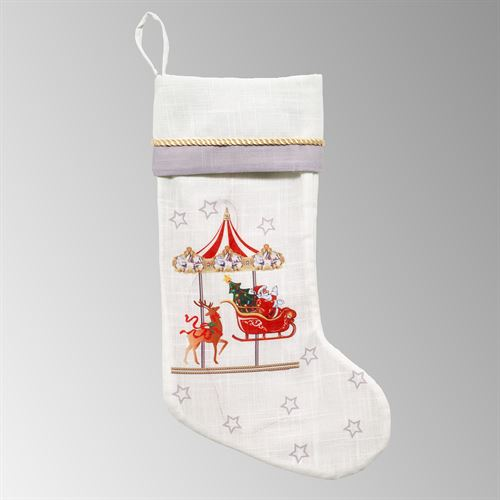 Carousel Lighted Musical Stocking Red
