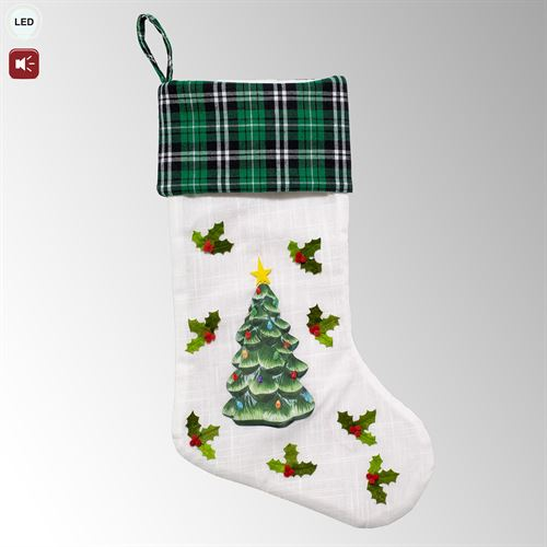 Christmas Tree Lighted Musical Stocking Green