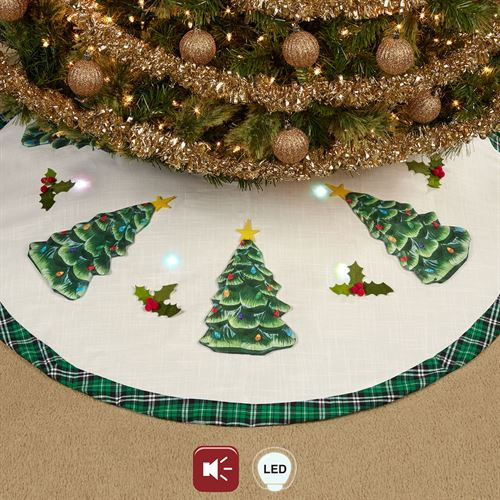 Christmas Tree Lighted Musical Tree Skirt Green 48 Diameter