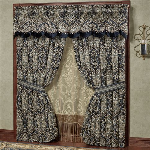 Virtuoso Scalloped Valance Midnight 72 x 20