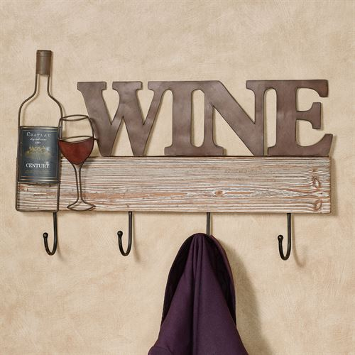 Wine Wall Hook Rack Brown