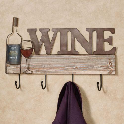 Wine Wall Hook Rack Brown