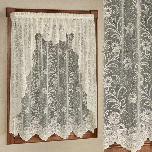 Art Nouveau Lace Long Swag Valance Pair 72 x 63