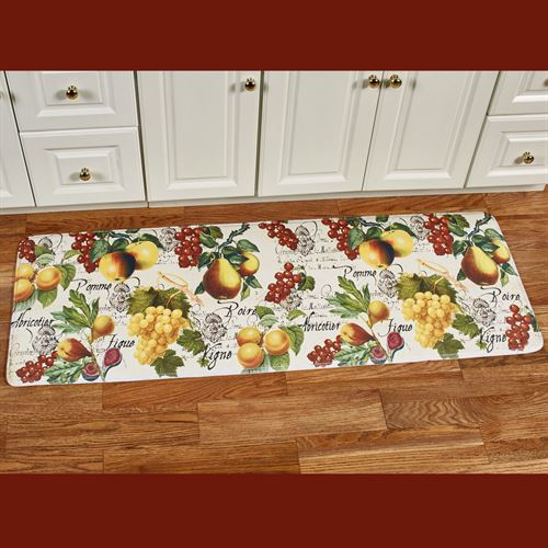 Botanical Fruit Cushioned Runner Mat Ivory 55 x 20