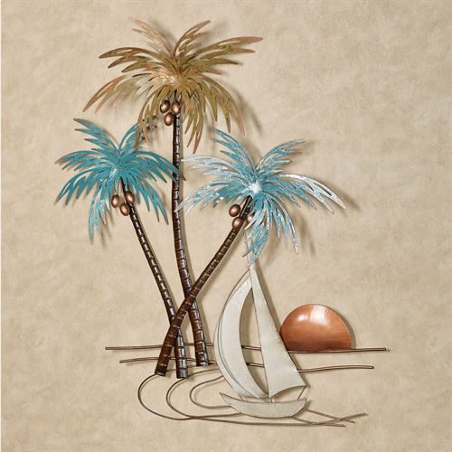 Sunset Paradise Tropical Palm Tree Metal Wall Art