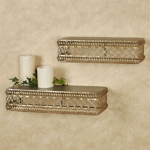 Corynne Wall Shelves Tarnished Gold Set of Two