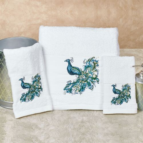 Peacock Bath Towel Set White Bath Hand Fingertip