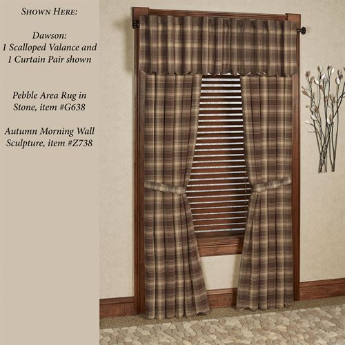 Dawson Plaid Tailored Curtain Pair Taupe