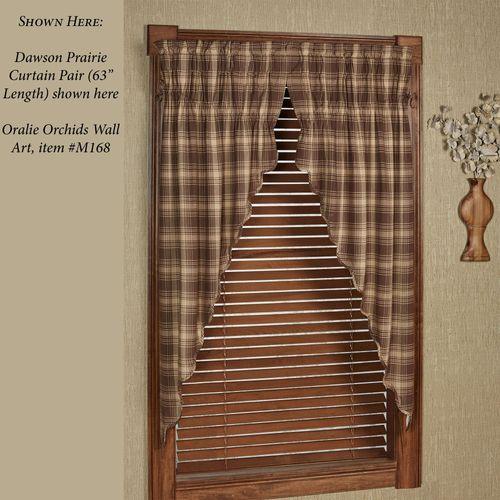 Dawson Plaid Prairie Curtain Pair Taupe 72 x 63