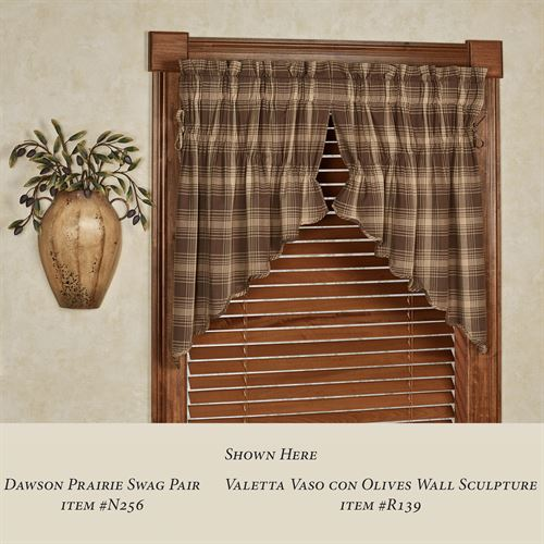 Dawson Plaid Prairie Swag Valance Pair Taupe 72 x 36