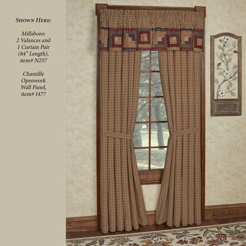 Millsboro Plaid Tailored Curtain Pair Multi Warm