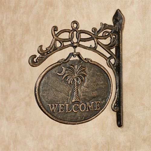 Palmetto Moon Welcome Wall Sign Antique Black