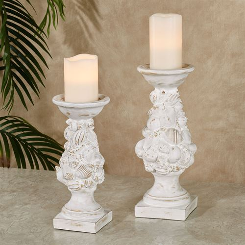 Shell Candleholders Whitewash Set of Two