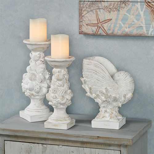Coral and Shell Decorative Vase Whitewash