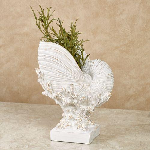 Coral and Shell Decorative Vase Whitewash