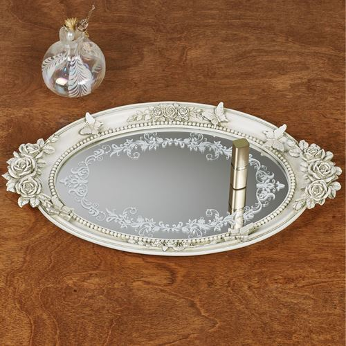 Butterfly in Roses Mirrored Vanity Tray Antique White