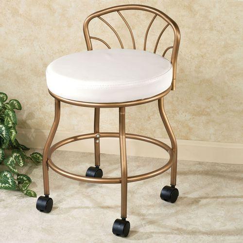 Flare Back Powder Coat Vanity Chair Champagne Bronze
