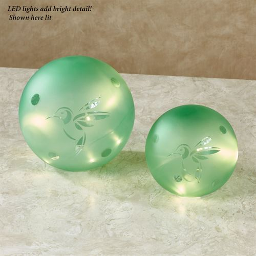 Hummingbird LED Glass Globes Green Set of Two