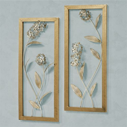 Hydrangea Glow Wall Art Ivory/Gold Set of Two