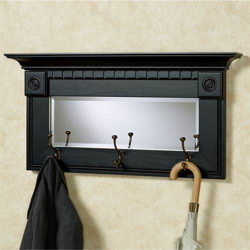 dentil pediment black wall mirror with hooks. Black Bedroom Furniture Sets. Home Design Ideas