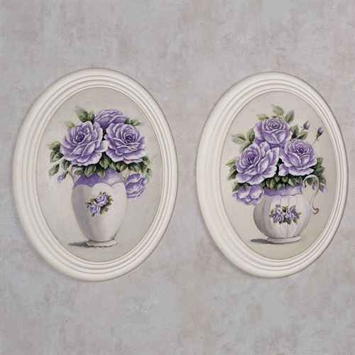 Adelaide Rose Wall Plaques Lavender Set of Two