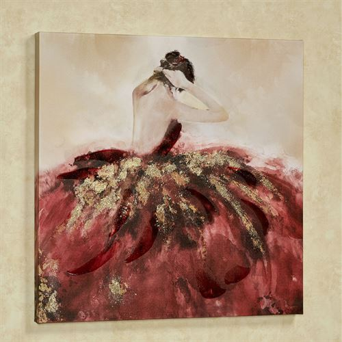 Bella Ballerina Canvas Wall Art Burgundy