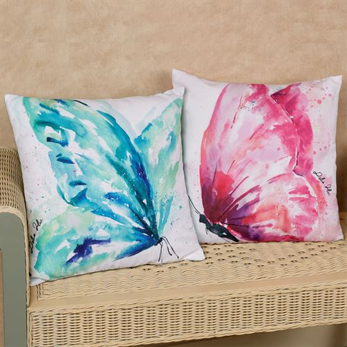 Watercolor Butterfly Decorative Pillows Multi Bright Set of Two