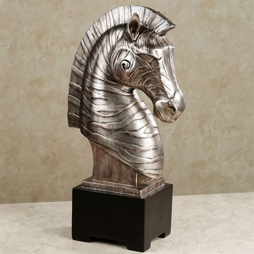 Abstract Zebra Head Antique Silver