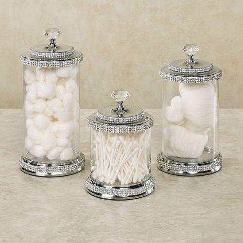 Desirie Glass Display Jars Nickel Three Piece Set