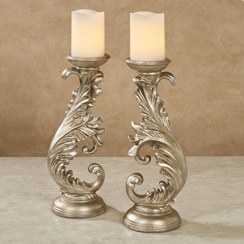 Joliette Candleholders Platinum Pair