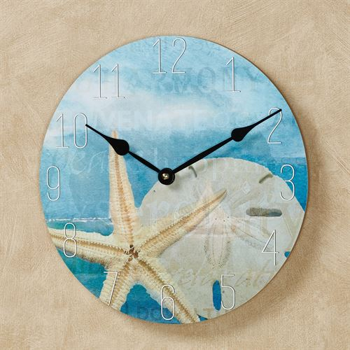 Seashell Coastal Wall Clock Blue