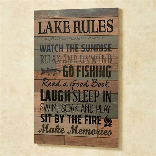Lake Rules Wall Plaque Sign Multi Earth