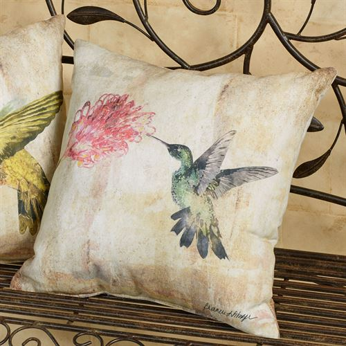 Hummingbird Floral II Pillow Multi Pastel 18 Square