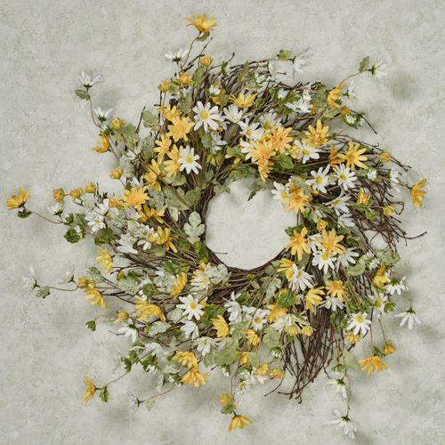 Cheerful Daisy Floral Wreath Multi Warm