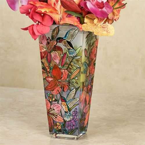 Daylilies And Associates Hummingbird Floral Glass Table Vase