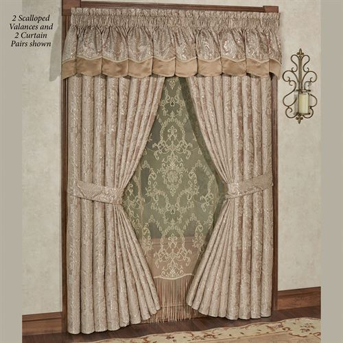 Camelot Scalloped Valance Almond 72 x 20