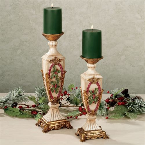 Winterberry Holly Candleholder Set Red Set of Two