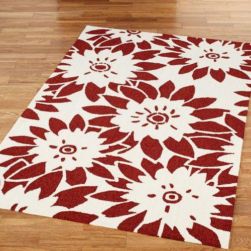 Garden Canvas Rectangle Rug Dark Red