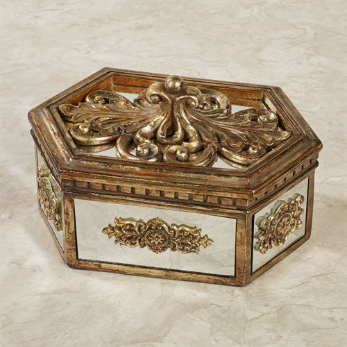 Brya Mirrored Covered Box Venetian Gold