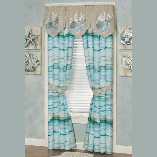 Seaview II Embroidered Valance Sand 60 x 20