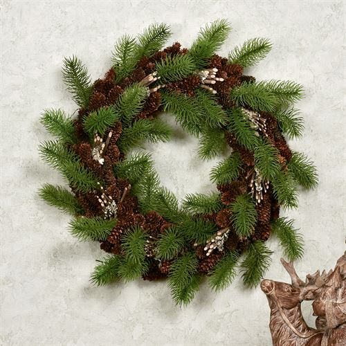 Pine Cone Wreath Green