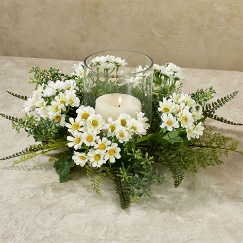 Wild Daisies Candle Ring Centerpiece White