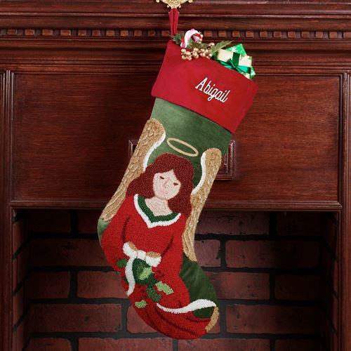 Tufted Angel Stocking Green