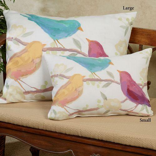 Bird Song Small Pillow Multi Pastel 18 x 13
