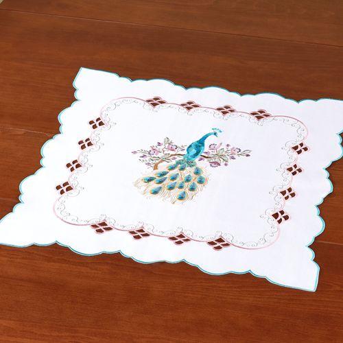 Pretty Peacock Small Table Topper Multi Pastel 20 Square