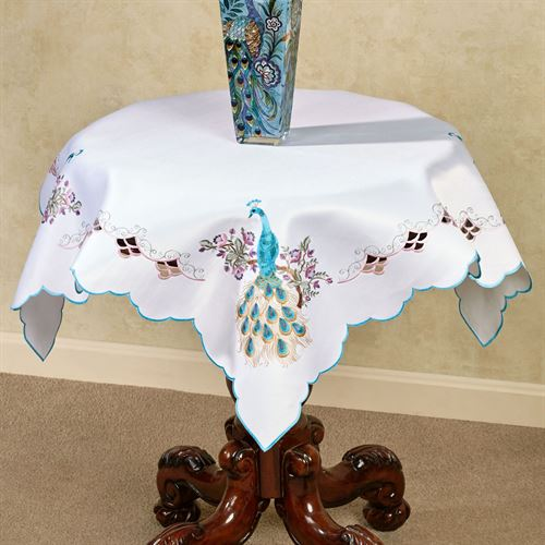 Pretty Peacock Table Topper Multi Pastel 36 Square